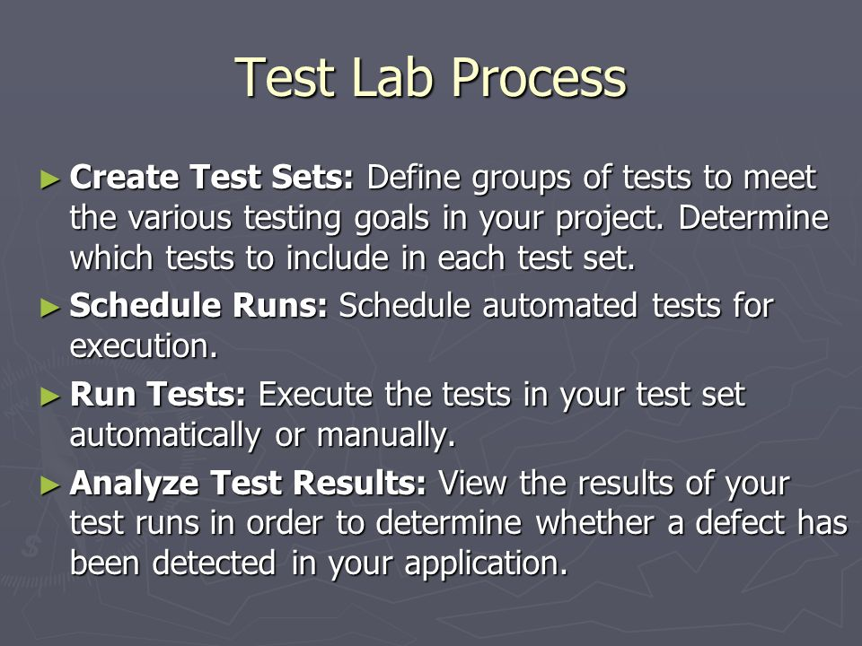 Test Lab Process
