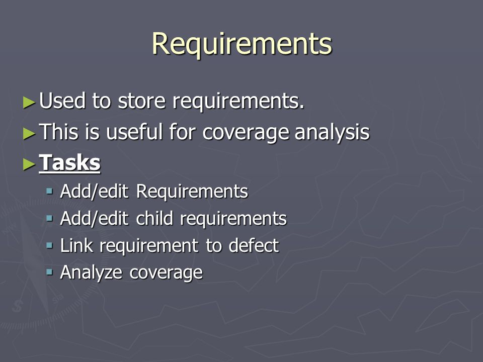 Requirements Used to store requirements.