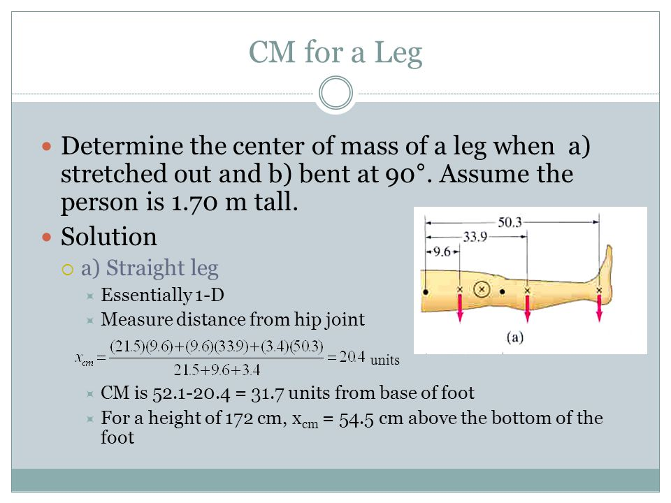 CM for a Leg Determine the center of mass of a leg when a) stretched out and b) bent at 90°. Assume the person is 1.70 m tall.