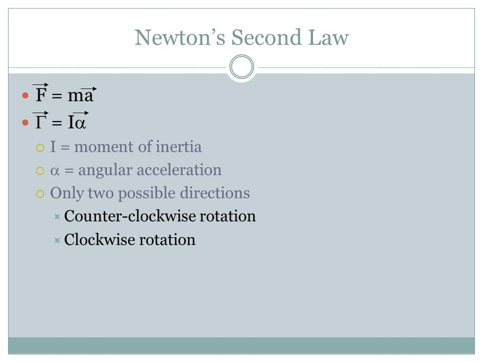 Newton's Second Law F = ma G = Ia I = moment of inertia