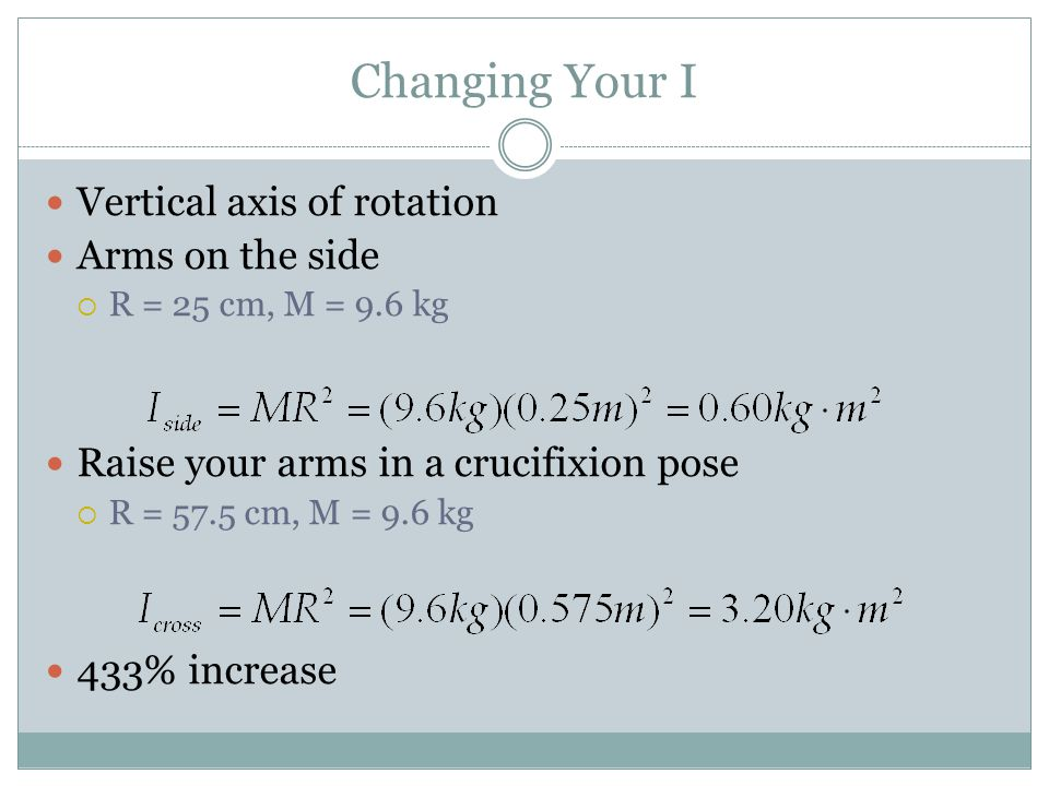 Changing Your I Vertical axis of rotation Arms on the side