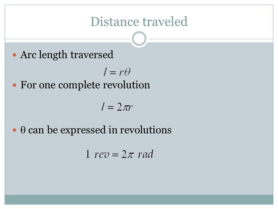 Distance traveled Arc length traversed For one complete revolution