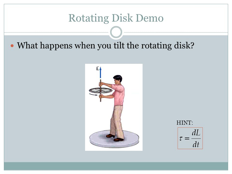 Rotating Disk Demo What happens when you tilt the rotating disk HINT: