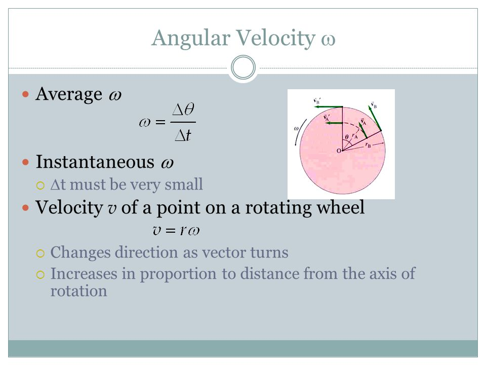 Angular Velocity w Average w Instantaneous w