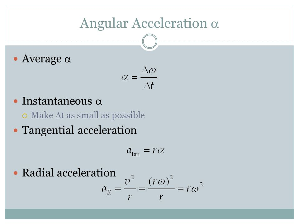Angular Acceleration a