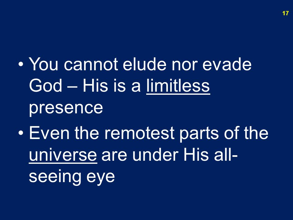 You cannot elude nor evade God – His is a limitless presence