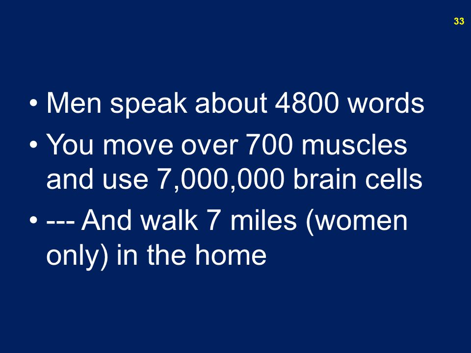 Men speak about 4800 words You move over 700 muscles and use 7,000,000 brain cells.