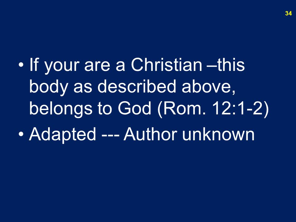 If your are a Christian –this body as described above, belongs to God (Rom. 12:1-2)
