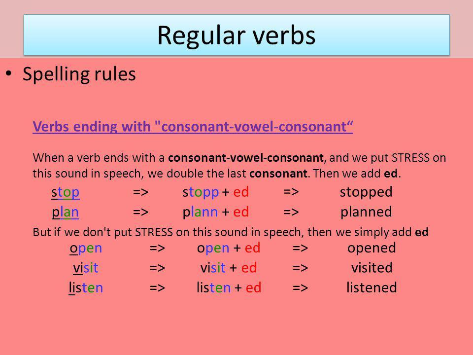 Regular verbs Spelling rules