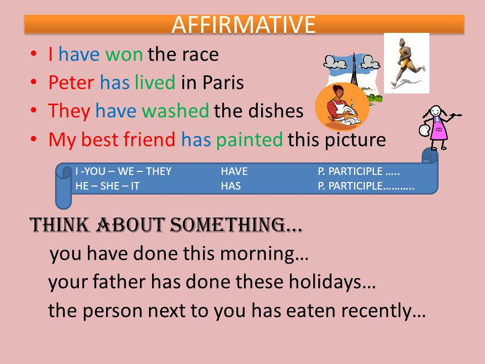 AFFIRMATIVE I have won the race Peter has lived in Paris