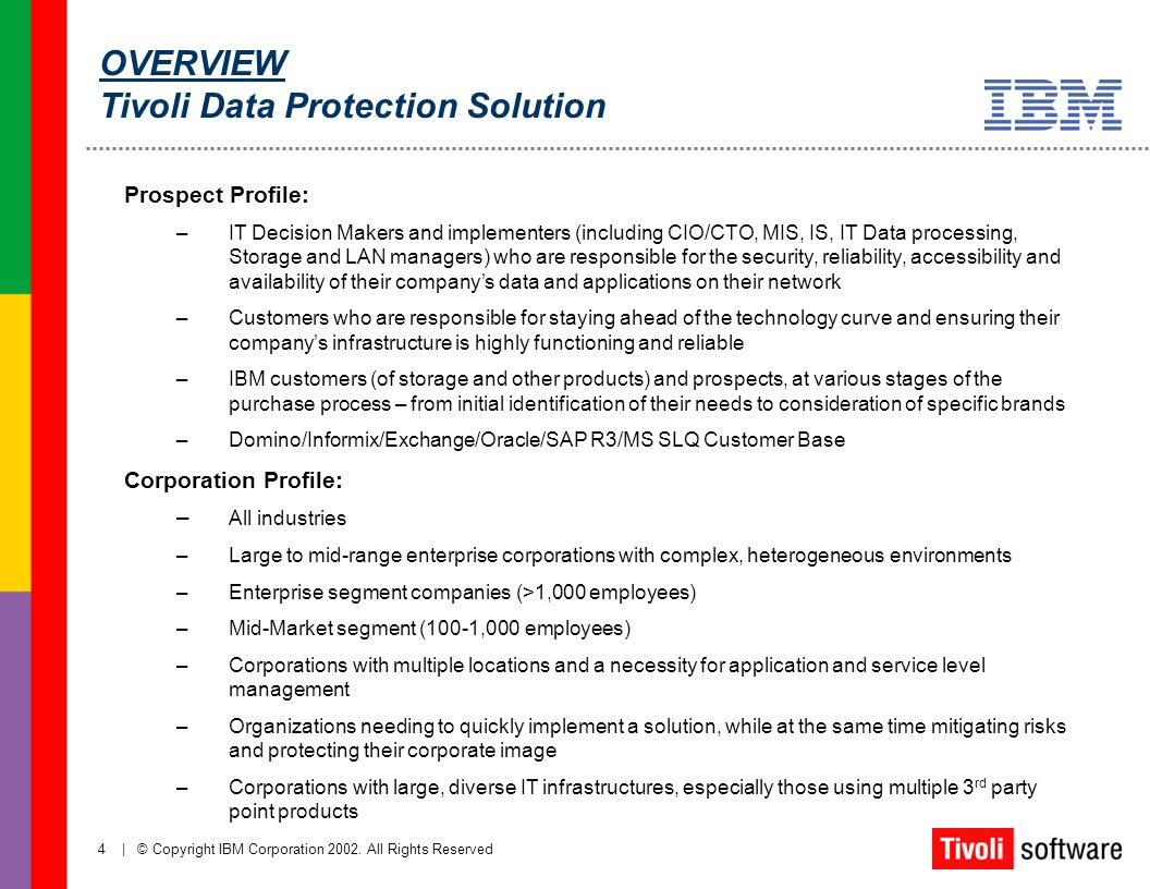 OVERVIEW Tivoli Data Protection Solution