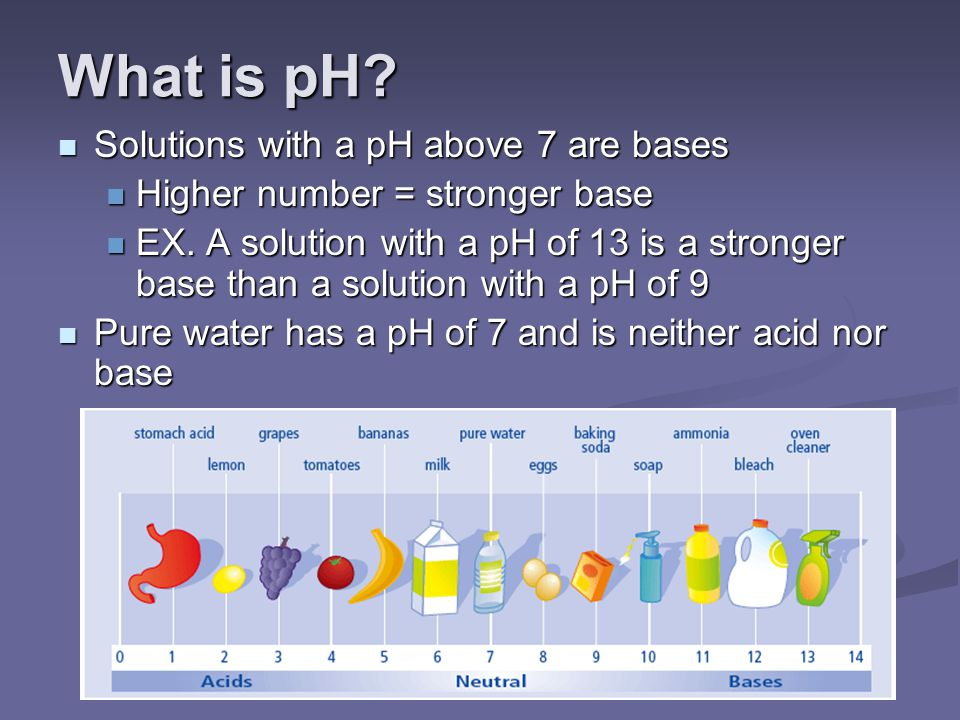 What is pH Solutions with a pH above 7 are bases
