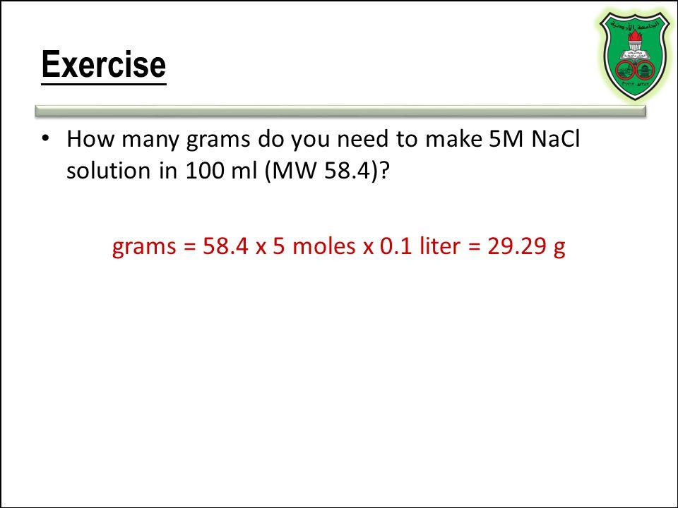 grams = 58.4 x 5 moles x 0.1 liter = 29.29 g