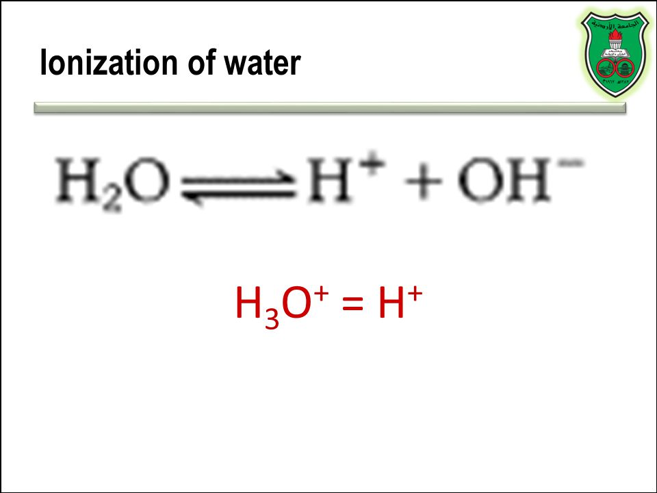 Ionization of water H3O+ = H+