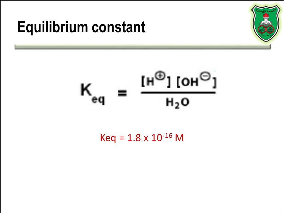Equilibrium constant Keq = 1.8 x 10-16 M