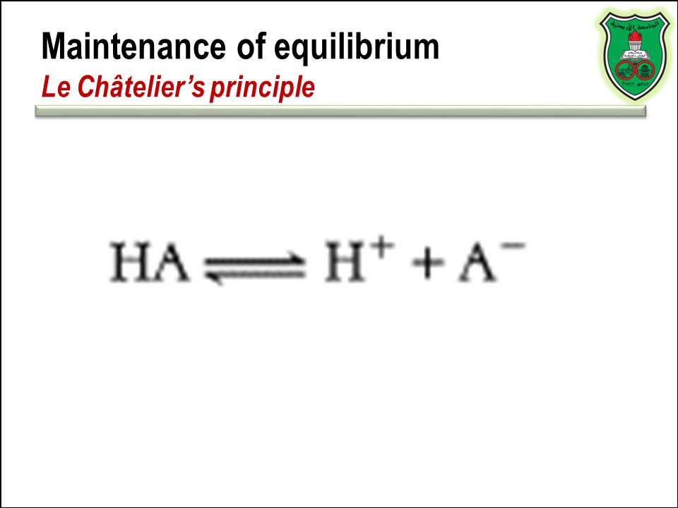 Maintenance of equilibrium Le Châtelier's principle