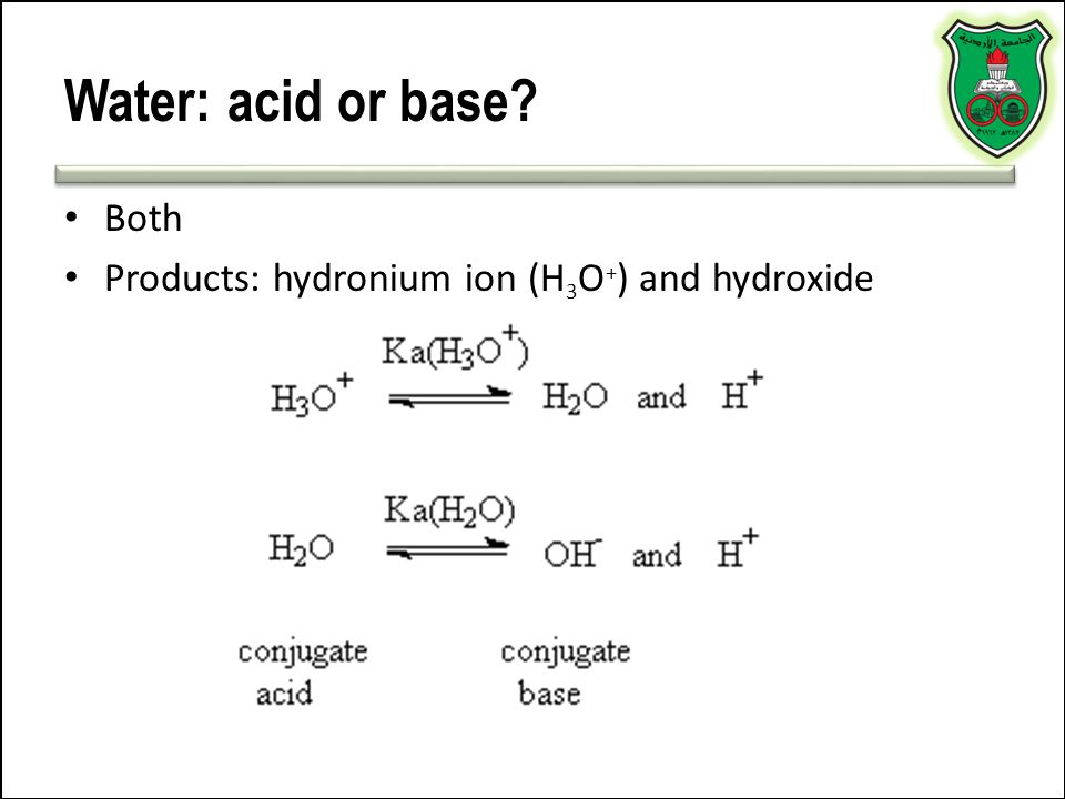 Water: acid or base Both Products: hydronium ion (H3O+) and hydroxide