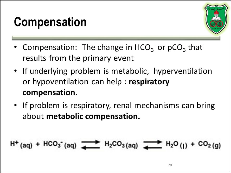 Compensation Compensation: The change in HCO3- or pCO3 that results from the primary event.