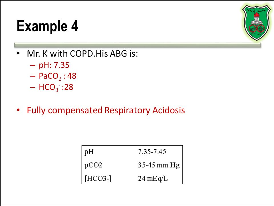 Example 4 Mr. K with COPD.His ABG is: