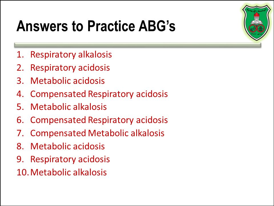 Answers to Practice ABG's
