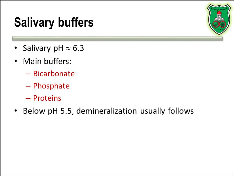 Salivary buffers Salivary pH  6.3 Main buffers: