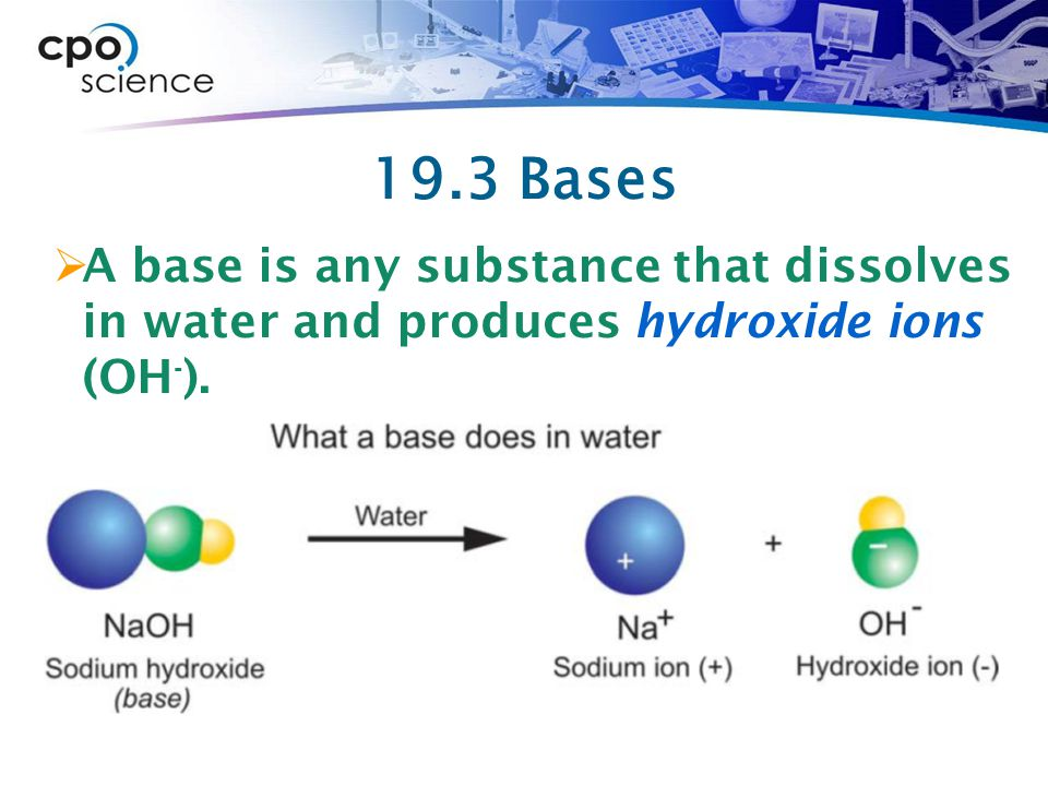 19.3 Bases A base is any substance that dissolves in water and produces hydroxide ions (OH-).