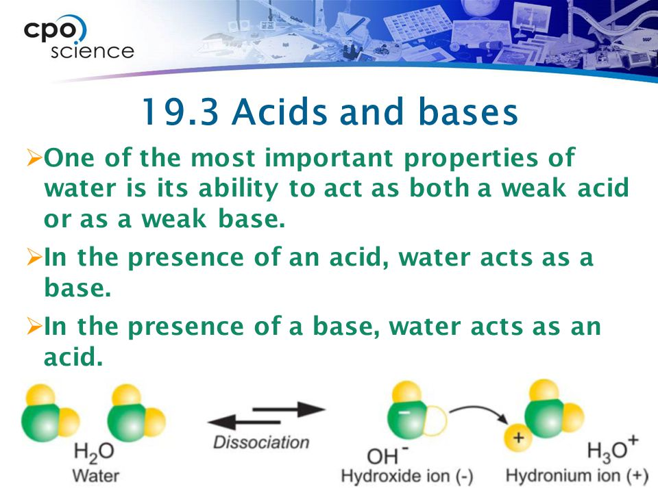 19.3 Acids and bases One of the most important properties of water is its ability to act as both a weak acid or as a weak base.