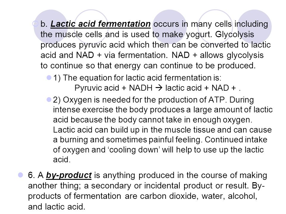b. Lactic acid fermentation occurs in many cells including the muscle cells and is used to make yogurt. Glycolysis produces pyruvic acid which then can be converted to lactic acid and NAD + via fermentation. NAD + allows glycolysis to continue so that energy can continue to be produced.