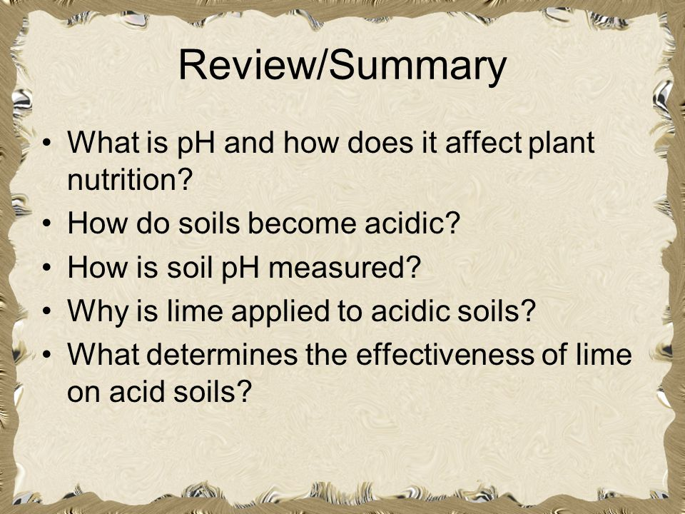 Review/Summary What is pH and how does it affect plant nutrition