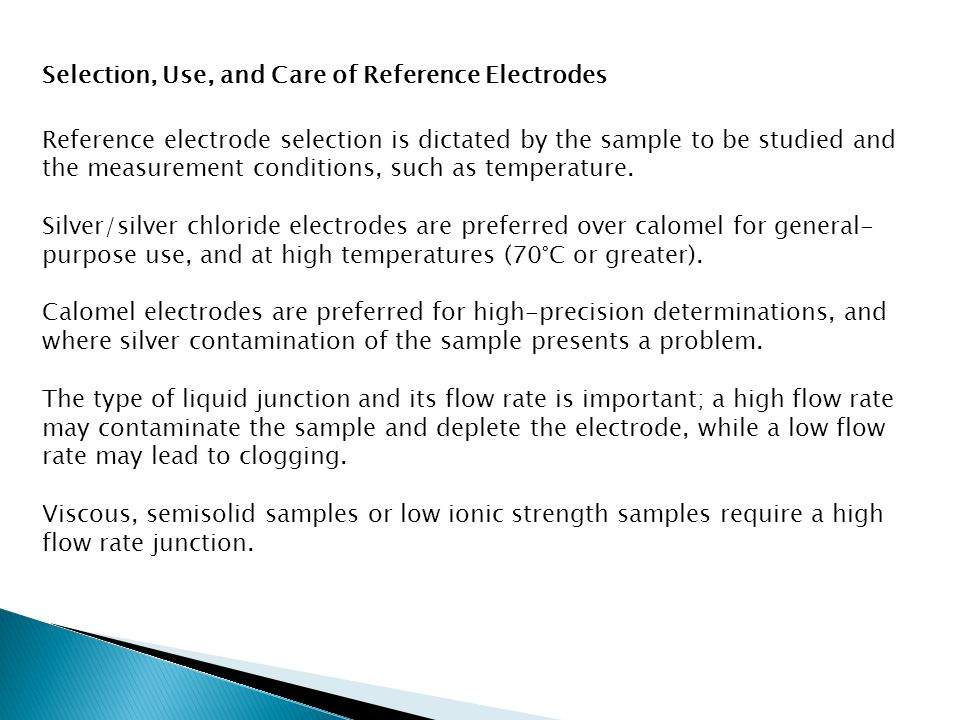 Selection, Use, and Care of Reference Electrodes