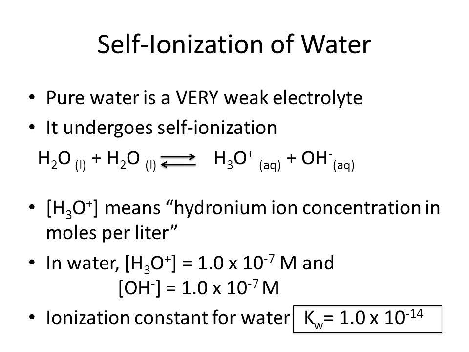 Self-Ionization of Water