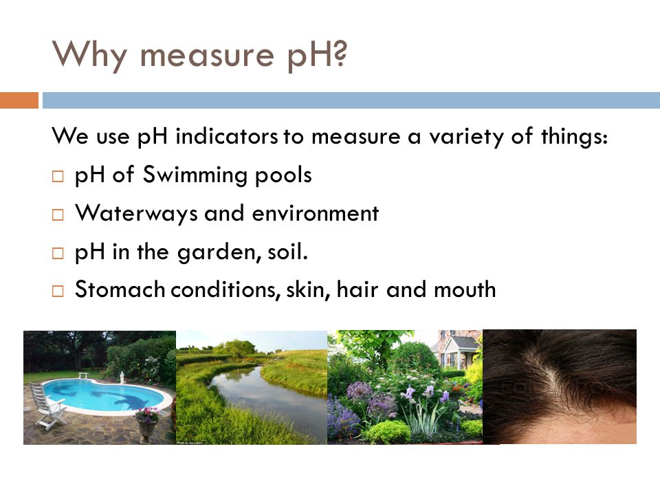 Why measure pH We use pH indicators to measure a variety of things: