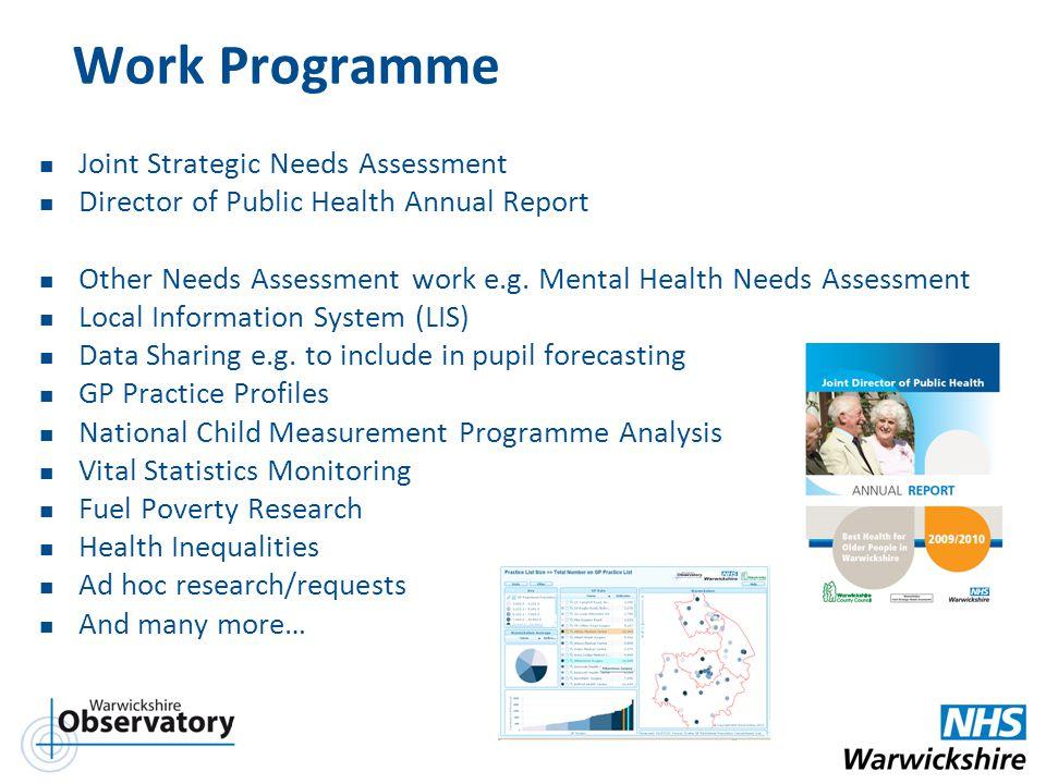 Work Programme Joint Strategic Needs Assessment