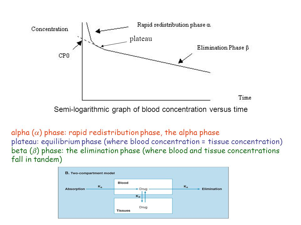 plateau Semi-logarithmic graph of blood concentration versus time. alpha () phase: rapid redistribution phase, the alpha phase.