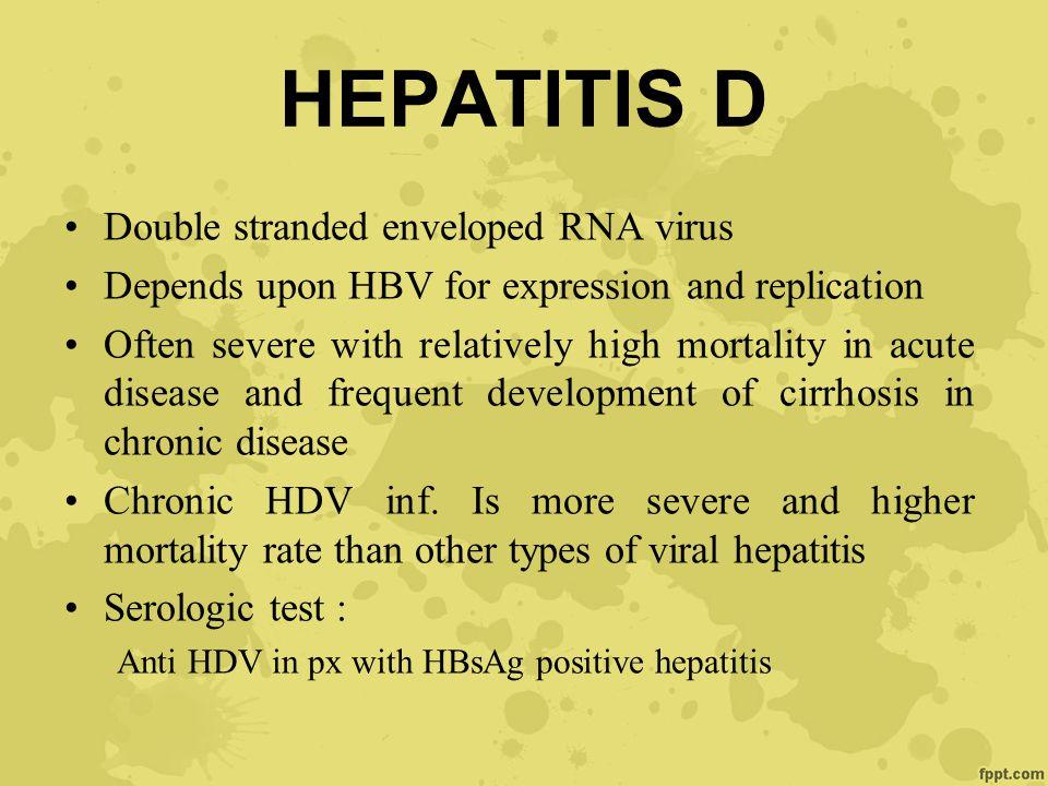 HEPATITIS D Double stranded enveloped RNA virus