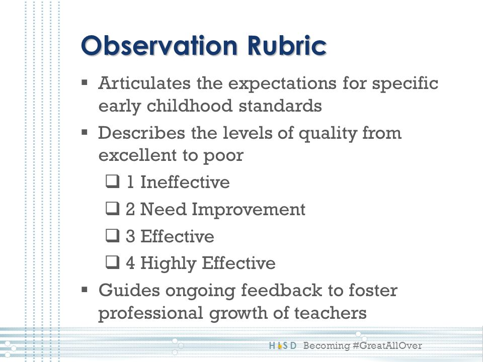 Observation Rubric Articulates the expectations for specific early childhood standards. Describes the levels of quality from excellent to poor.
