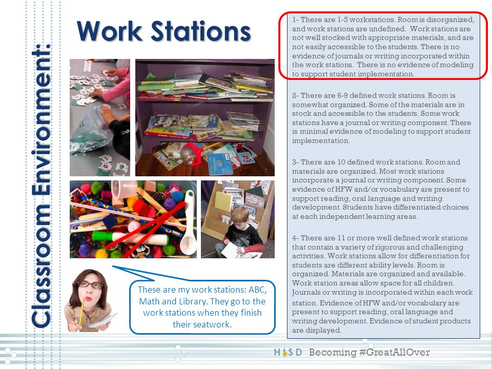 Work Stations Classroom Environment: