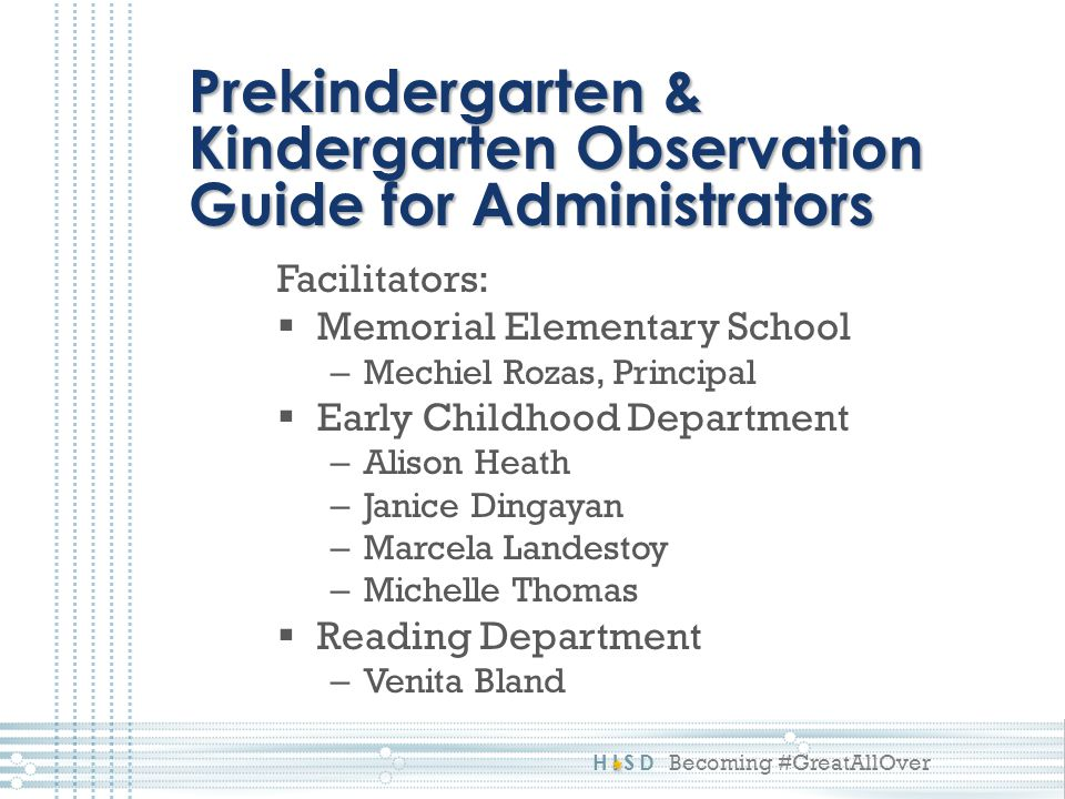 Prekindergarten & Kindergarten Observation Guide for Administrators