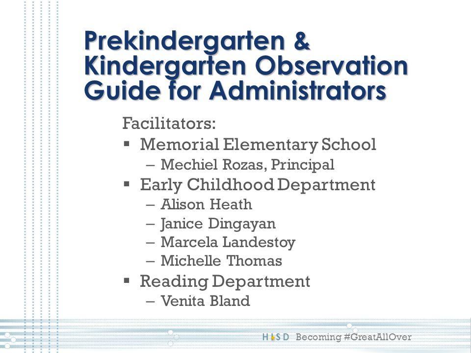 Prekindergarten & Kindergarten Observation Guide for Administrators