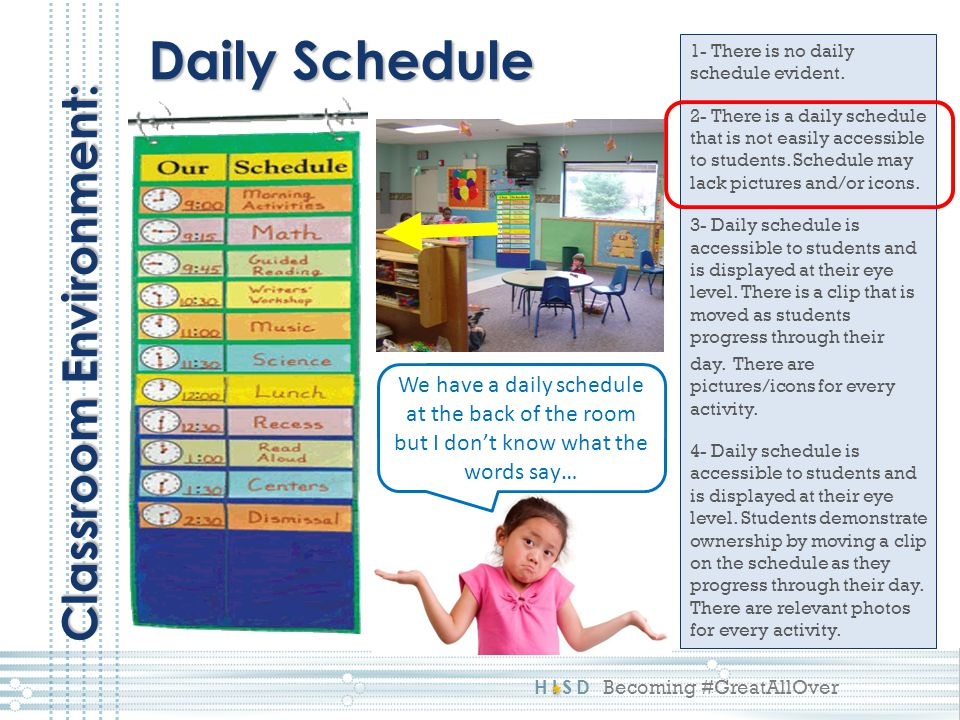Daily Schedule Classroom Environment: