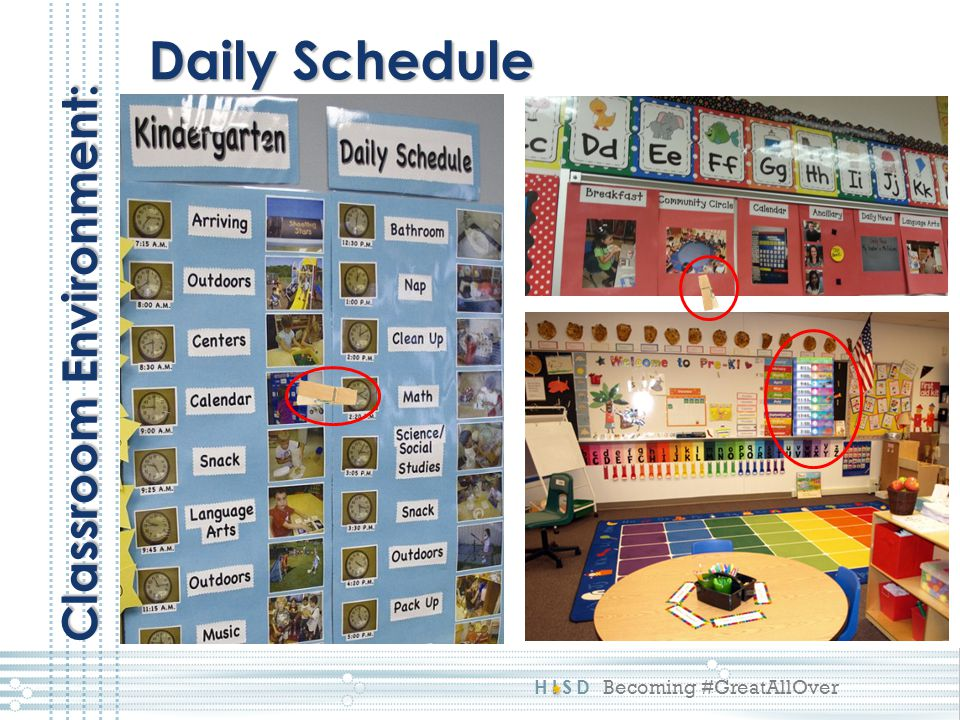 Daily Schedule Classroom Environment: This reflects a 4: