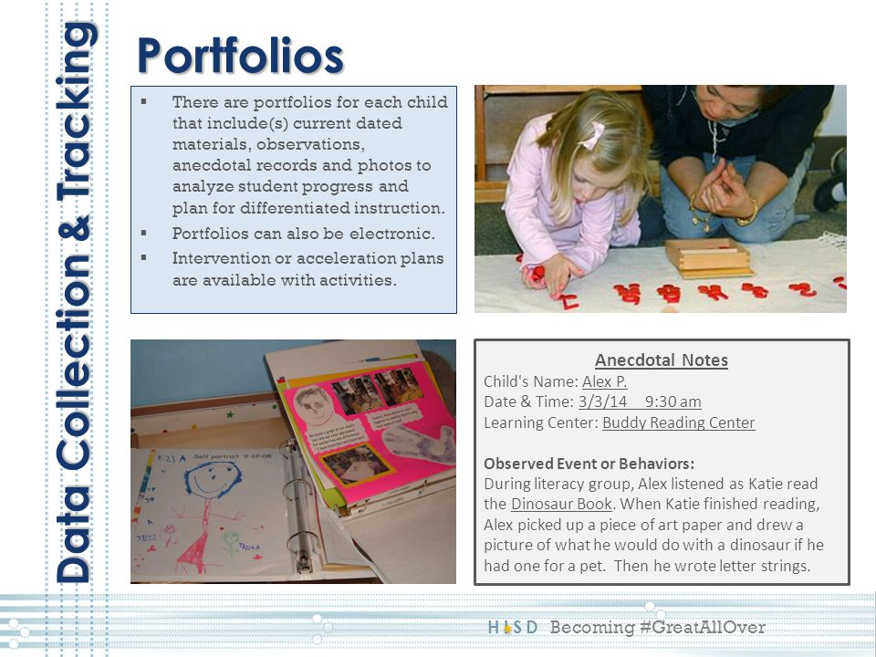 Portfolios Data Collection & Tracking Anecdotal Notes