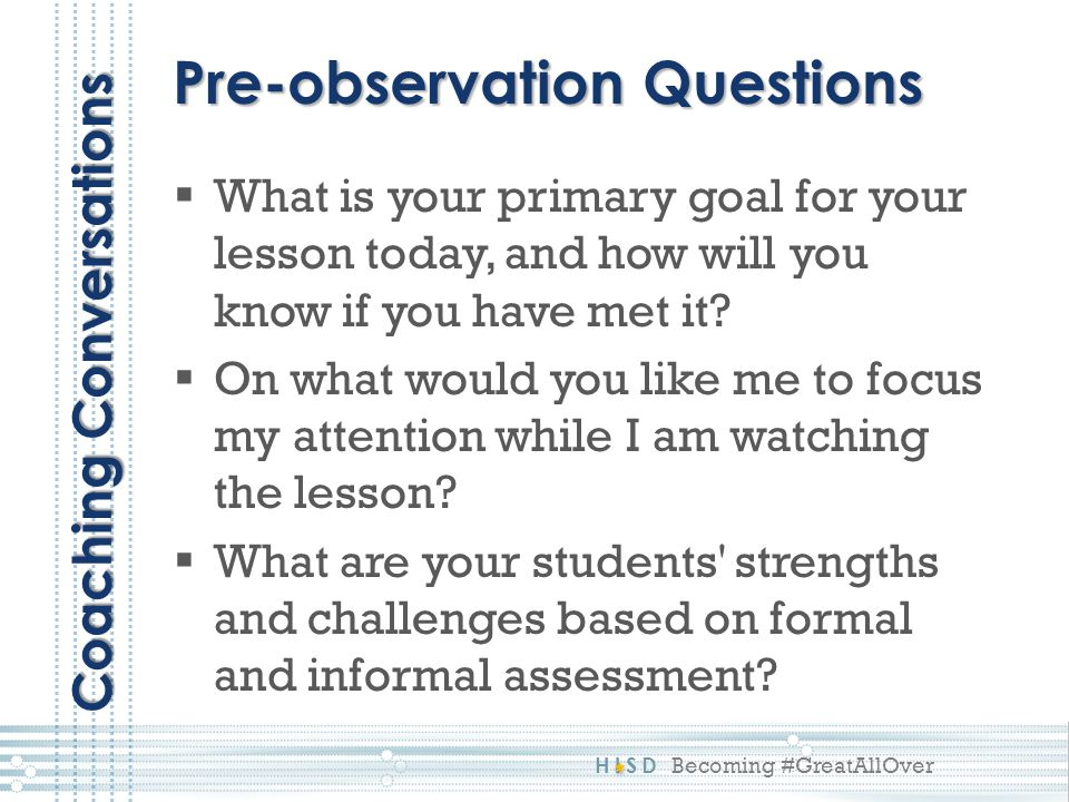 Pre-observation Questions