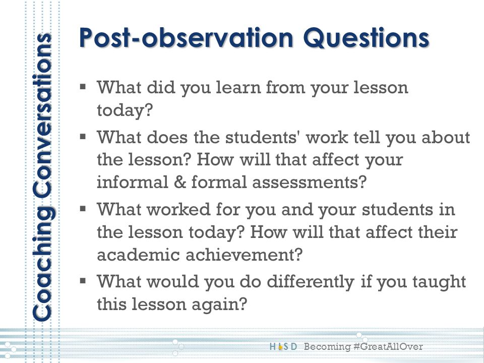Post-observation Questions