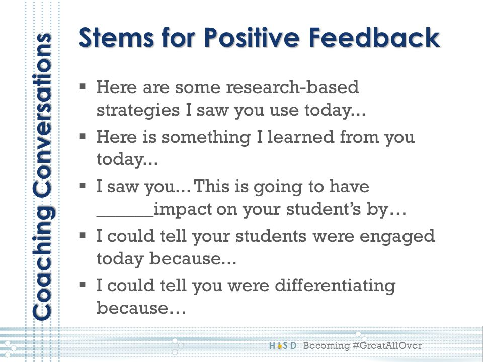 Stems for Positive Feedback