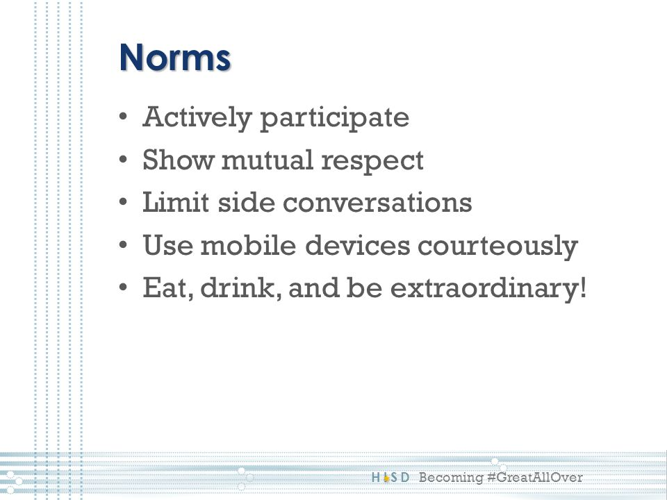 Norms Actively participate Show mutual respect