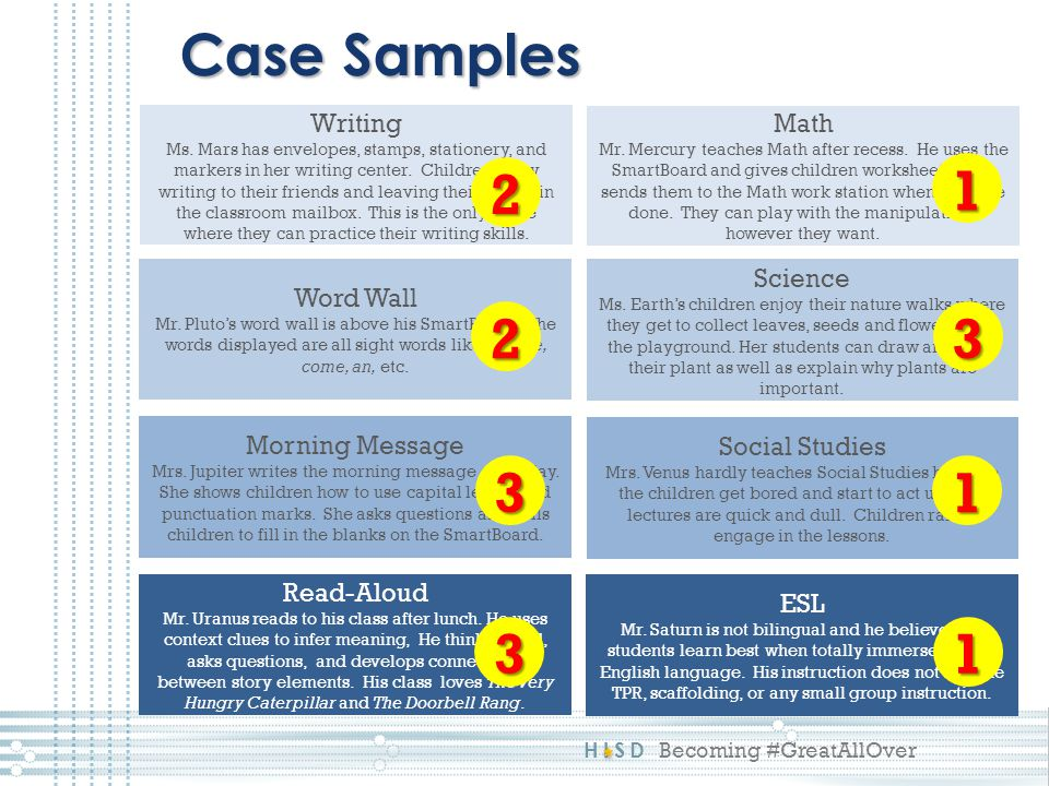 Case Samples 2 1 2 3 3 1 3 1 Writing Math Word Wall Science