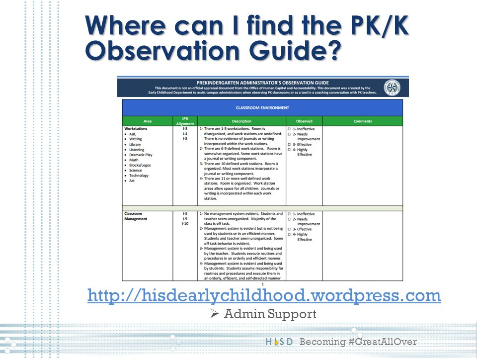 Where can I find the PK/K Observation Guide