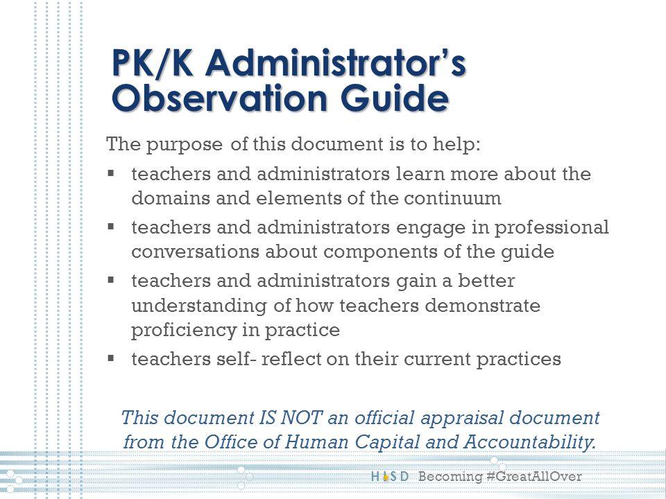 PK/K Administrator's Observation Guide