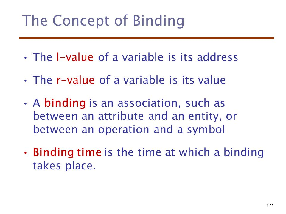 The Concept of Binding The l-value of a variable is its address